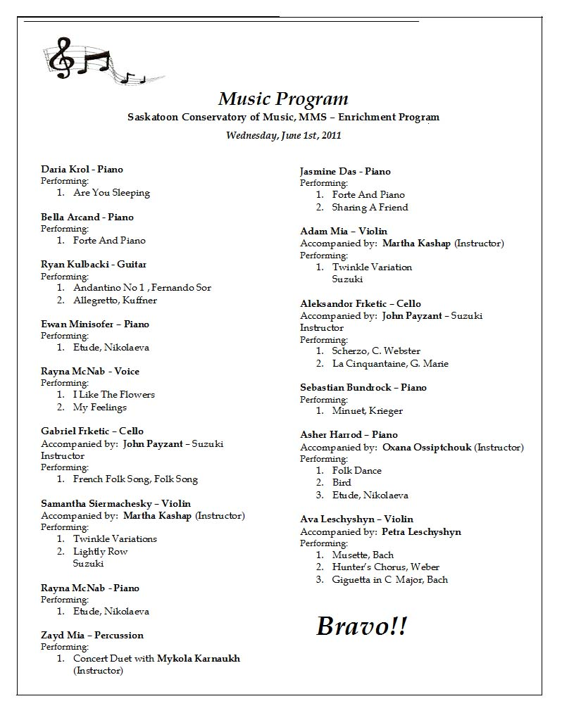 Saskatoon Conservatory of Music Official Site – Concert Program
